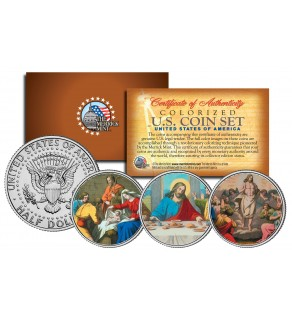 JESUS CHRIST - Nativity - Last Supper - Ressurection Colorized JFK Half Dollar 3-Coin Set