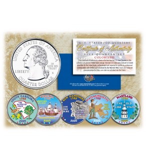 2000 US Statehood Quarters COLORIZED Legal Tender - 5-Coin Complete Set - with Capsules & COA