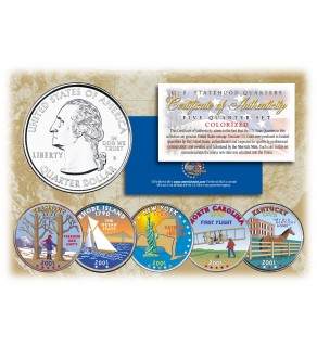 2001 US Statehood Quarters COLORIZED Legal Tender - 5-Coin Complete Set - with Capsules & COA