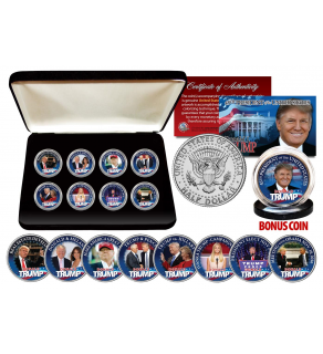 DONALD TRUMP Official JFK Kennedy Half Dollars ULTIMATE 8-Coin Set with Premium Display BOX & BONUS 45th President Trump JFK Coin