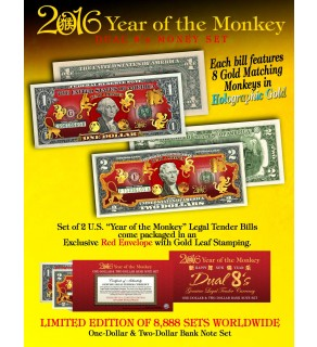2016 YEAR OF THE MONKEY $1 & $2 Chinese New Year Lucky Money Set - DUAL 8's GOLD MATCHING MONKEY's Packaged in EXCLUSIVE Premium RED LUNAR ENVELOPE – Limited Edition of 8,888 Sets Worldwide