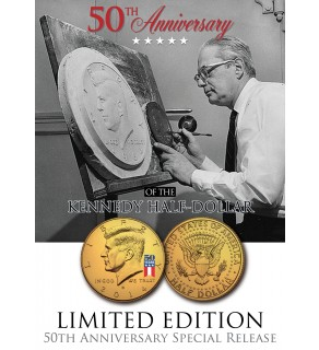 24K Gold Plated - 50th Anniversary - 50 YEAR LOGO - 2014 JFK Kennedy Half Dollar US Coin (D)