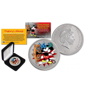 2017 New Zealand Mint Niue 1 oz Pure Silver Colorized Americana Mickey Steamboat Willie BU Coin