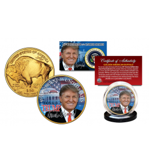 DONALD TRUMP 45th President of the U.S. 2017 24K Gold Plated $50 AMERICAN GOLD BUFFALO Indian Tribute Coin