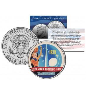 WORLD'S FAIR 1939 NEW YORK - 75th Anniversary - 2014 JFK Half Dollar US Coin
