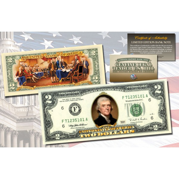 Two Dollar 2 U S Bill Genuine Legal Tender Currency