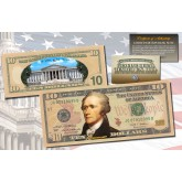 TEN DOLLAR $10 U.S. Bill Genuine Legal Tender Currency COLORIZED 2-SIDED