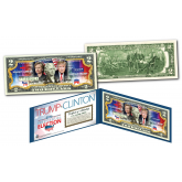 "2016 Historic Presidential Election HILLARY CLINTON VS. DONALD TRUMP ""DUAL"" Genuine Legal Tender U.S. $2 Bill"