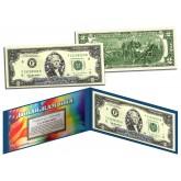 SILVER SHIMMERING STARS HOLOGRAM Legal Tender U.S $2. Bill Currency - Limited