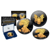 30th ANNIVERSARY 2016 1oz. FINE SILVER AMERICAN EAGLE EDGE LETTERING - Black RUTHENIUM Edition with 2-Sided 24K Gold clad - WEST POINT MINT