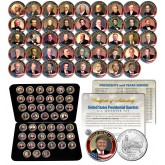 ALL 45 United States PRESIDENTS Complete Coin Collection Colorized Waahington DC Quarters with DELUXE BOX and FULL COLOR CERTIFICATE