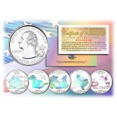 2004 US Statehood Quarters HOLOGRAM - 5-Coin Complete Set - with Capsules & COA