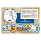 2008 US Statehood Quarters COLORIZED Legal Tender - 5-Coin Complete Set - with Capsules & COA