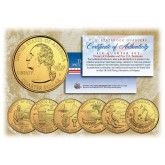 2009 DC US TERRITORIES Quarters 24K GOLD PLATED - 6-Coin Complete Set - with Capsules & COA