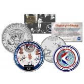 APOLLO 15 XV SPACE MISSION Colorized 2-Coin Set U.S. Florida Quarter & JFK Half Dollar - NASA ASTRONAUTS