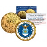 United States AIR FORCE Emblem 24K Gold Plated JFK Kennedy Half Dollar Coin MILITARY