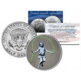 BANKSY - GIRL JUMPING ROPE - Colorized JFK Half Dollar U.S. Coin - Street Art Graffiti
