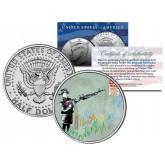 BANKSY - CRAYON SHOOTER - Colorized JFK Half Dollar U.S. Coin - Street Art Graffiti