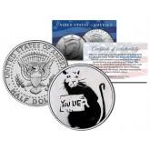 BANKSY - YOU LIE RAT - Colorized JFK Half Dollar U.S. Coin - Street Art Graffiti