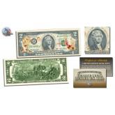 BARACK OBAMA - Inauguration - $2 Bill U.S. Legal Tender GOLD LEAF Laser Line