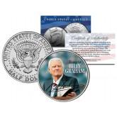 Reverend BILLY GRAHAM - Evangelical Preacher - JFK Kennedy Half Dollar U.S. Colorized Coin