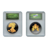 Black RUTHENIUM 1 Oz .999 Fine Silver 2016 American Eagle U.S. Coin with 2-Sided 24K Gold clad in Slabbed Graded Holder