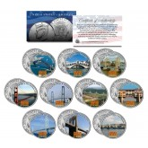 FAMOUS BRIDGES OF THE WORLD Colorized JFK Kennedy Half Dollar U.S. 10-Coin Set
