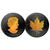 2016 BLACK RUTHENIUM & 24K GOLD .9999 Genuine Silver 1 oz CANADA MAPLE LEAF BU