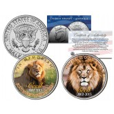 Cecil Famous African Lion 2015 JFK Kennedy Colorized Half Dollar U.S. 2-Coin Set - In Memoriam & Forever in Our Hearts