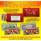 2017 YEAR OF THE ROOSTER $1 & $2 Chinese New Year Lucky Money Set - DUAL 8's GOLD MATCHING ROOSTER's Packaged in EXCLUSIVE Premium RED LUNAR ENVELOPE – Limited Edition of 8,888 Sets Worldwide