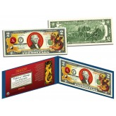 Chinese Zodiac - YEAR OF THE DRAGON - Colorized $2 Bill U.S. Legal Tender Currency
