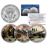 AMERICAN CIVIL WAR - 150th Anniversary - 1864-2014 JFK Kennedy Half Dollar US 3-Coin Set