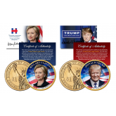 2-COIN SET - HILLARY CLINTON & DONALD TRUMP for 45th President of the United States 2016 Presidential $1 Golden Dollar Coins