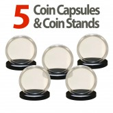 5 Coin Capsules & 5 Coin Stands for MORGAN / PEACE / IKE DOLLARS - Direct Fit Airtight 38mm Holders