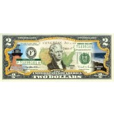 RHODE ISLAND State/Park COLORIZED Legal Tender U.S. $2 Bill with Security Features