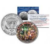 CONEY ISLAND B&B CAROUSEL - Colorized JFK Kennedy Half Dollar U.S. Coin - BROOKLYN NY