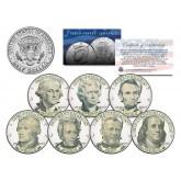 U.S. BANKNOTES PORTRAIT DESIGN - Exclusive - Colorized JFK Half Dollar U.S. 7-Coin Set