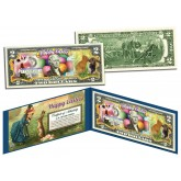HAPPY EASTER - Easter Eggs & Easter Bunny - Colorized $2 Bill U.S. Legal Tender