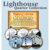 Historic American - LIGHTHOUSES - Colorized US Statehood Quarters 3-Coin Set #1 - Montauk (NY) Cape Hatteras (NC) Boston Harbor (MA)