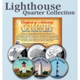 Historic American - LIGHTHOUSES - Colorized US Statehood Quarters 3-Coin Set #7 - Nauset (MA) Lynde Point (CT) Morris Island (SC)