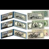EDUCATIONAL SERIES 1896 Designed NEW U.S. Bills - Genuine Legal Tender Modern U.S. $1, $2, & $5 Banknotes - Set of All 3