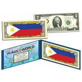 PHILIPPINES - Official Flags of the World Genuine Legal Tender U.S. $2 Two-Dollar Bill Currency Bank Note