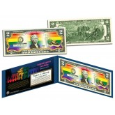 Gay Pride MARRIAGE EQUALITY Colorized $2 Bill U.S. Genuine Legal Tender - Supreme Court Ruling 6/26/2015