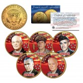 5-STAR GENERALS U.S. ARMY Colorized JFK Half Dollars 5-Coin Set 24K Gold Plated