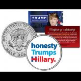 Donald Trump * HONESTY TRUMPS HILLARY * Slogan Official Genuine Legal Tender 2016 JFK Half Dollar U.S. Coin