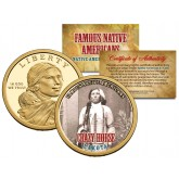 CRAZY HORSE - Famous Native Americans - Sacagawea Dollar Colorized US Coin - LAKOTA Indians