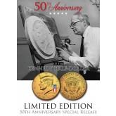 24K Gold Plated - 50th Anniversary - 50 YEAR LOGO - 2014 JFK Kennedy Half Dollar US Coin (D)