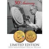 24K Gold Plated - 50th Anniversary - 50 YEAR LOGO - 2014 JFK Kennedy Half Dollar US Coin (P)