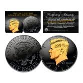 Black RUTHENIUM Clad 2015 Kennedy Half Dollar U.S. Coin with 24K Gold Clad JFK Portrait - D Mint