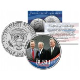 BUSH FAMILY - George HW W & Jeb - Colorized JFK Kennedy Half Dollar U.S. Coin